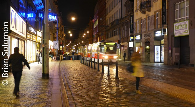 Postcards from Prague—Trams at Night.