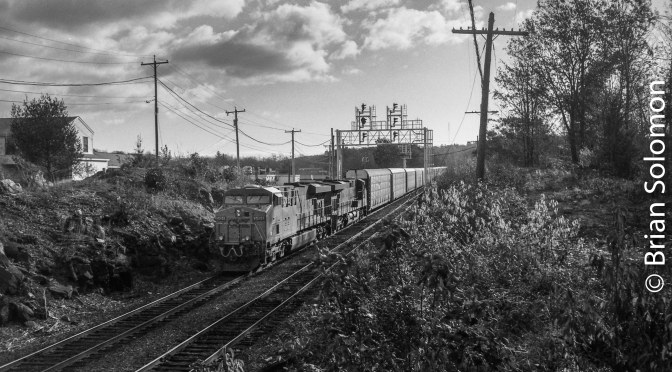 Black & White-Morning Light: CSX at Gardner, Massachusetts.