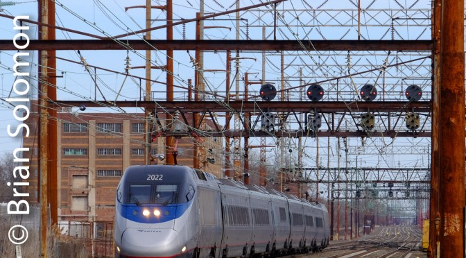Sunday-only Acela Express Blitzes Marcus Hook—December 4, 2016.
