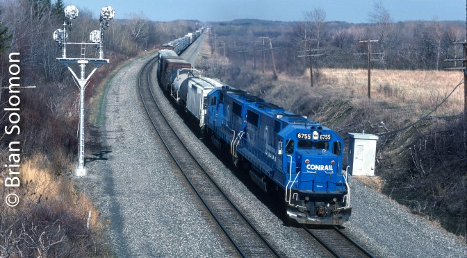 Conrail SD50s Move Tonnage on the Water Level Route.