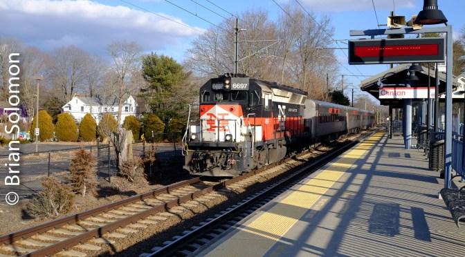 Shore Line East at Clinton, Connecticut.