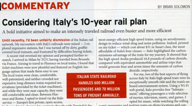 August 2017 TRAINS Magazine features my latest Opinion Column