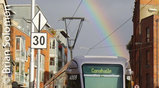 Rainbow with Dublin's LUAS-3 Photos.