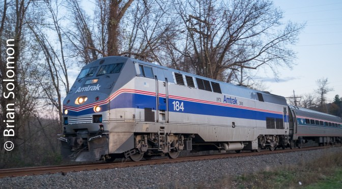 Amtrak Northeast Direct Heritage Unit in Motion.
