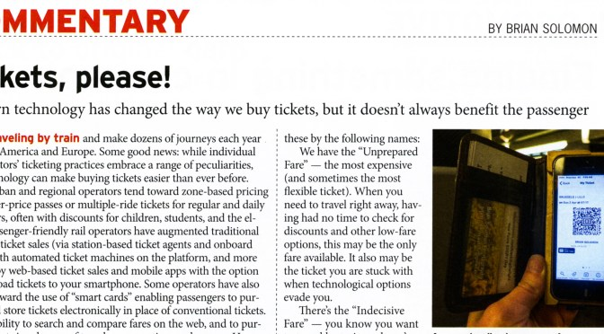 January 2018 Trains Magazine Features my Column titled 'Tickets Please!'