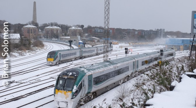 Irish Rail in the Snow in Dublin—Today, 28 February 2018.