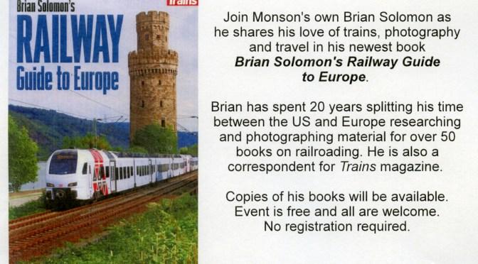 Brian Solomon's Talk at Monson Free Library: Tuesday May 15, 2018, 6pm.
