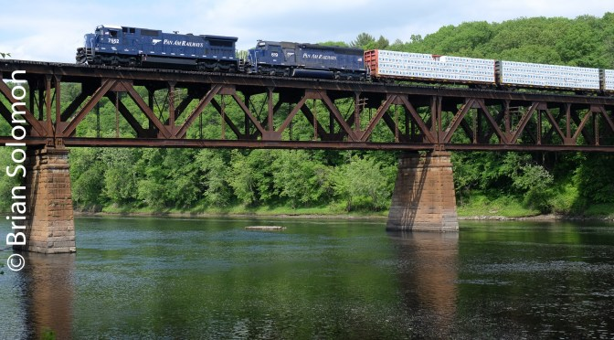 Pan Am Railways crosses the Connecticut; Old and Older and both Blue.