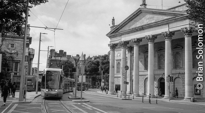 Dublin's College Green with Tram—Fuji Acros 100.