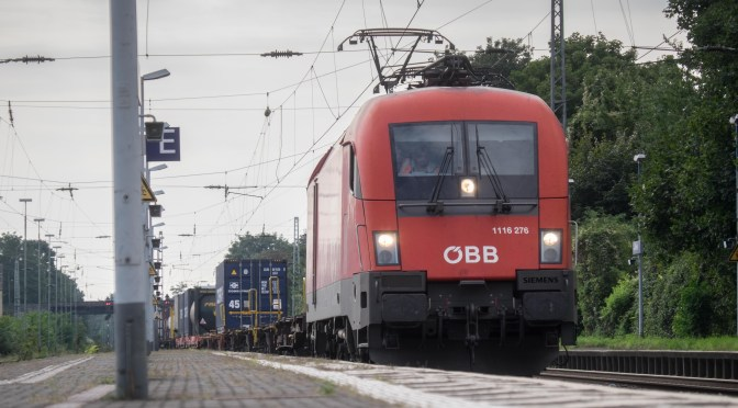 An OBB (Austrian Railways) Electric Leads Freight at Bonn-Beuel, Germany.