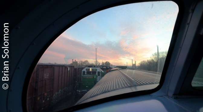 Amtrak's Southwest Chief Sunrise at Argentine, Kansas.