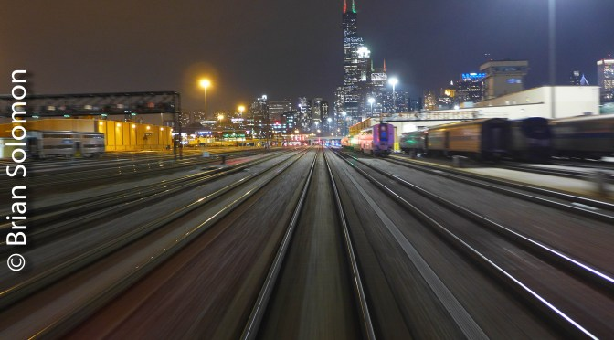 Dynamic View of Chicago Departing Union Station.