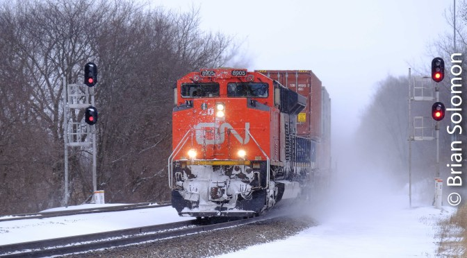 Canadian National Kicks Up Snow at Ackerville.