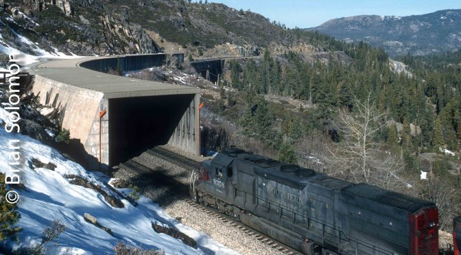 Classic Chrome-Screen Saver: SP Tunnel Motor on Donner Pass.