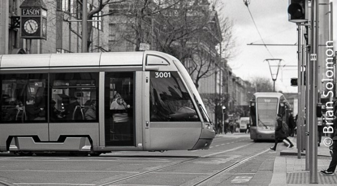 LUAS Convergence—DUBLIN Trams on O'Connell Street