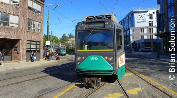 MBTA Green Line at Cleveland Circle.