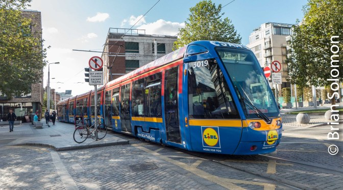 Lidl Tram Prowls Dublin's LUAS Red Line—3 photos.
