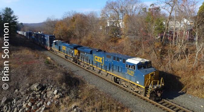 CSX Q022 on the Roll at West Warren—November 25, 2019.