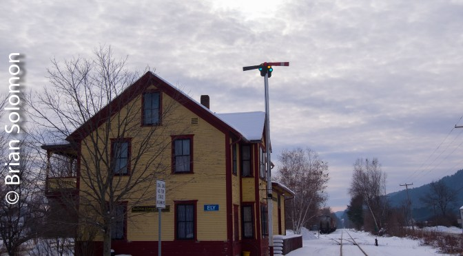 Boston & Maine Station at Ely, Vermont with Cotton Candy Sky.