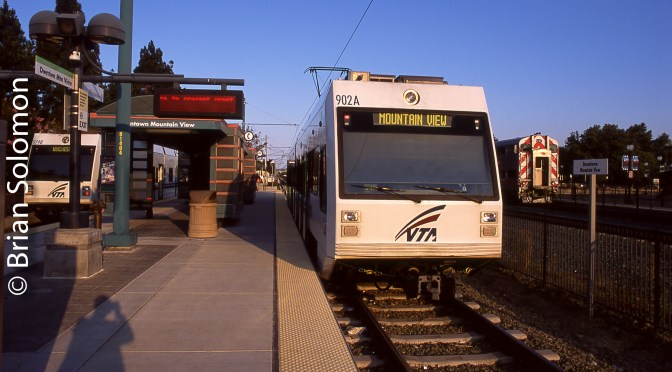 Leap Day Transit Marathon photo: San Jose Light Rail and CalTrain.