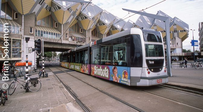 Rotterdam Tram at the Cube Houses.