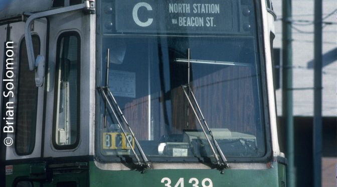 MBTA Green Line Boeing-vertol on Kodachrome.