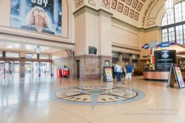 Wellington Railway Station classical architectural style concourse with granite floor and inlaid compas