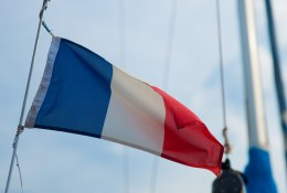 Tricolor, French flag on yacht, Bouzigues, Etang de Thau, France