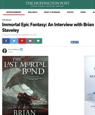 An Interview with Brian Staveley at Huffington Post