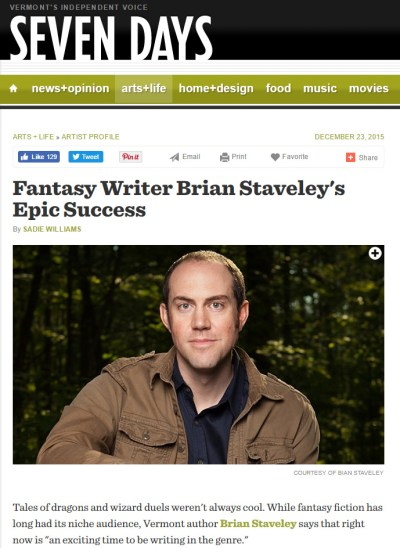 Fantasy Writer Brian Staveley's Epic Success: An Interview with Vermont's Independent Publication, Seven Days