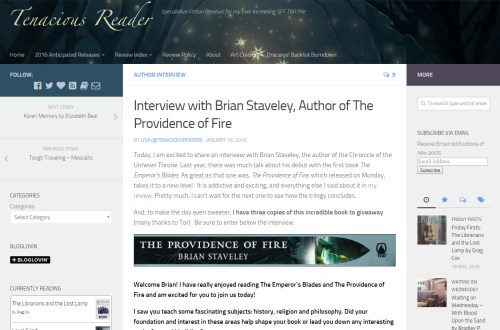 Interview at The Tenacious Reader