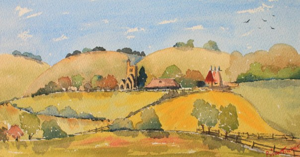 Horsmonden Church and oasts in the Weald Watercolour 11inches by 6.5