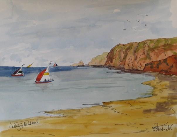 Sailing boats off the Esterel Coast