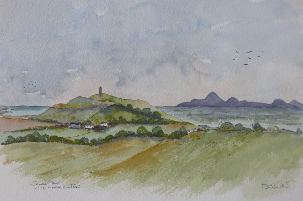Scrobo Tower and the Mourne Mountains. Watercolour 14 inches by 12