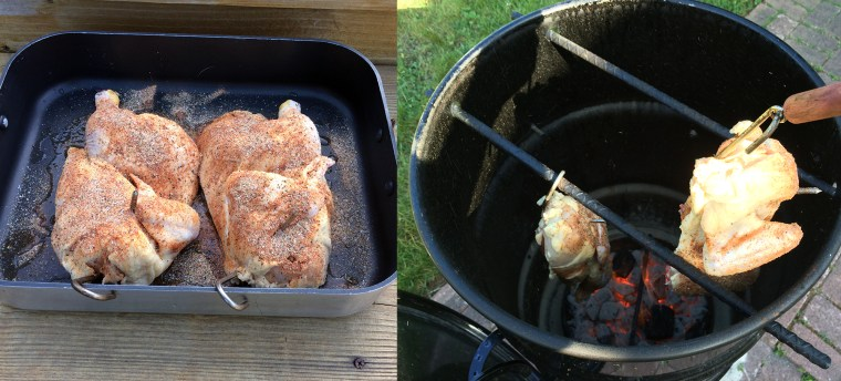 Chicken with rub and meat hooks (left). Hanging the chicken in the smoker (right).