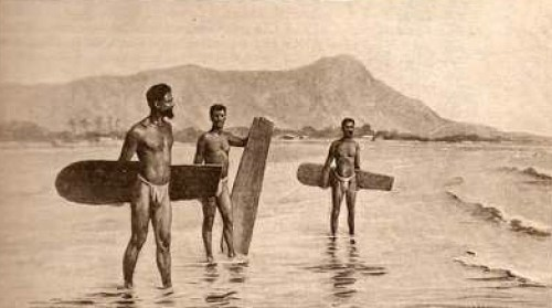 Surfers, Waikiki, 1898. Photo by Charles Weisser.