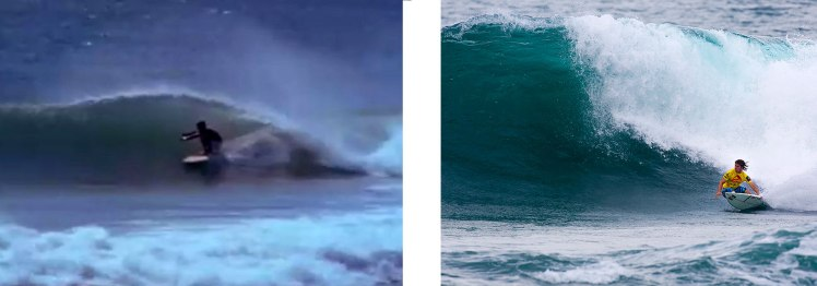 """Stoked surfers: Robert August (left): Mark """"Occy"""" Occhilupo (right)."""
