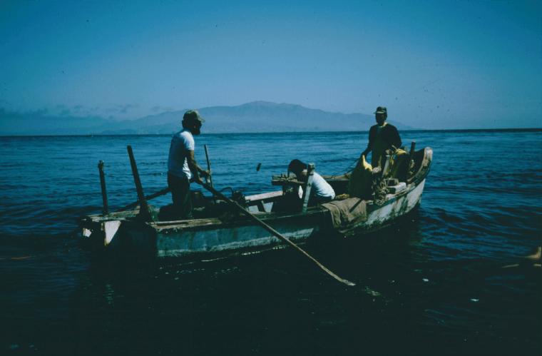 Abalone fishing boat off Natividad Island, July 1986.
