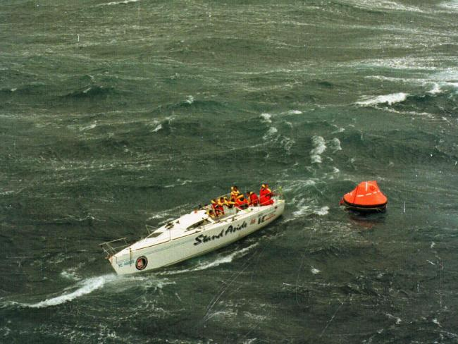 Yacht VC is stranded off the South Coast after being dismasted during 1998 Sydney to Hobart race.