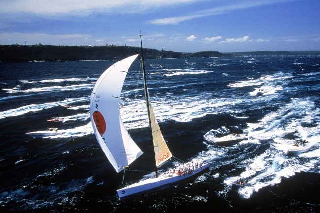 SYDNEY, AUSTRALIA - DECEMBER 26: Sayonara competes at the start of the Sydney to Hobart yacht race December 26, 1998 in Sydney, Australia. (Photo by Nick Wilson/Getty Images)