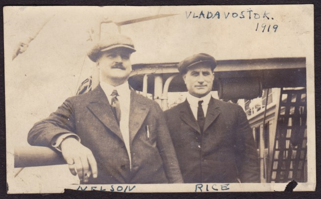 My grandfather, right, in Vladivostok (Russia, but by then I think the Soviet Union), 1919