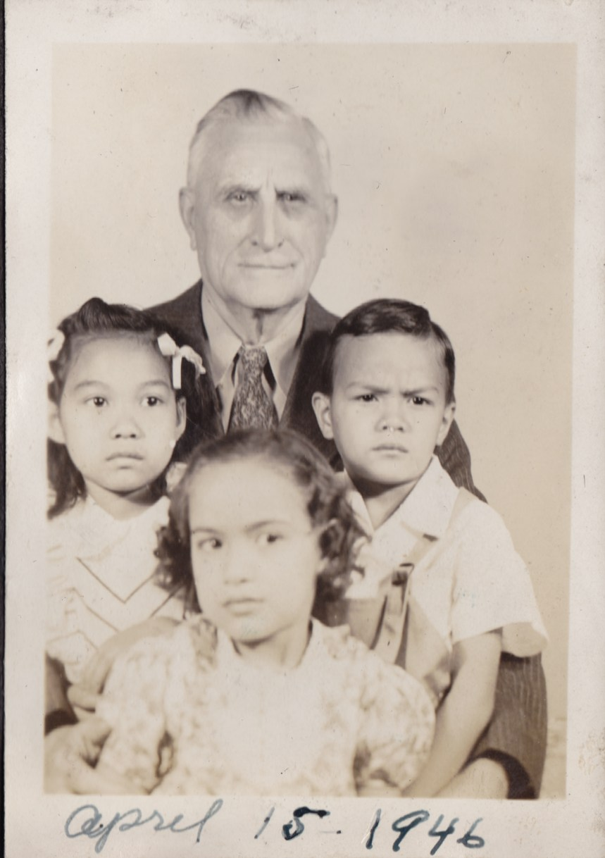 My grandfather, dad, and sisters Norma and Ellen, April 1946