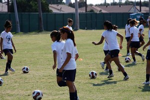 Girls football training