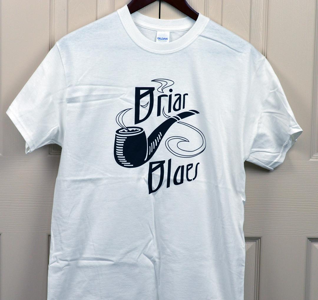 t shirt-white-black logo on front-medium