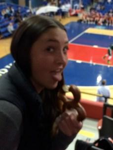 Senior Annie Barrett enjoys a pretzel