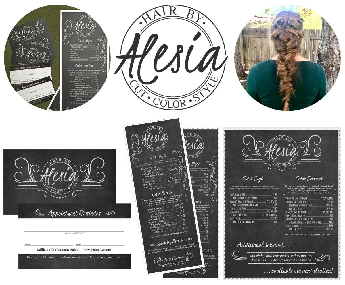 Hair by Alesia Hair Stylist Logo Design & marketing materials