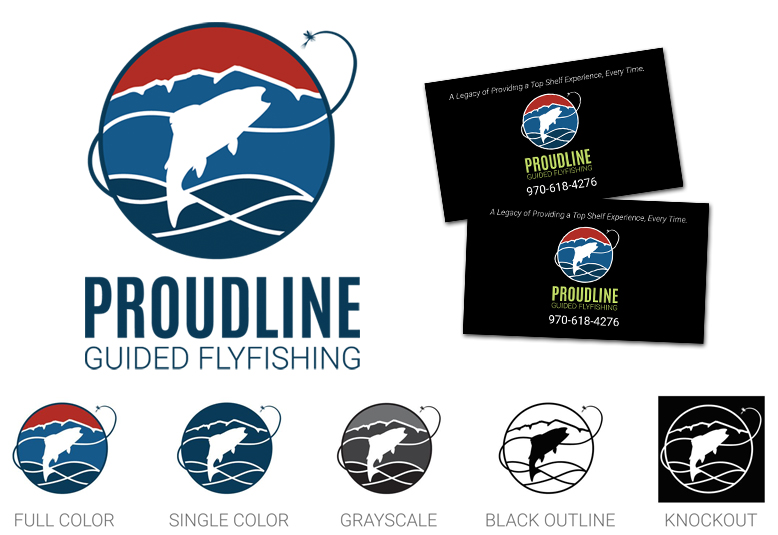 Proudline Flyfishing logo options and business cards