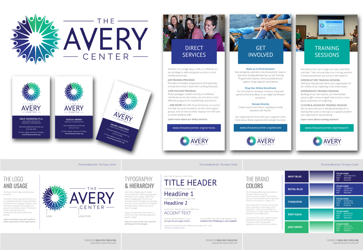 Style guide and marketing materials for The Avery Center