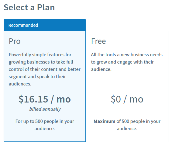 Select your AWeber free or Pro paid plan