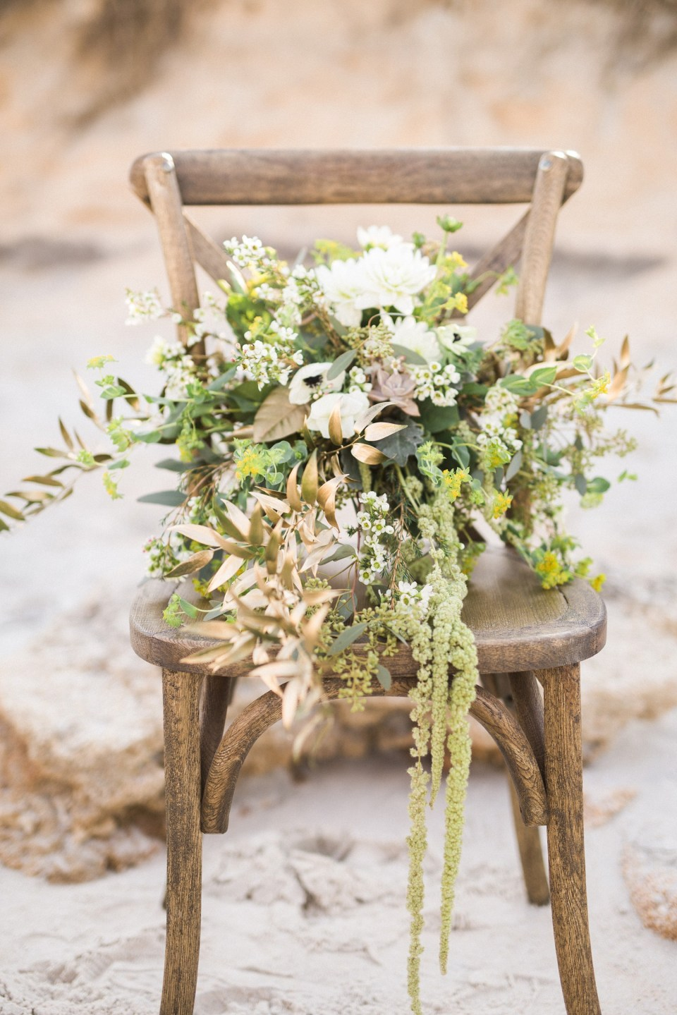 Greenery wedding bouquet with dahlias, succulents, gold accents | Mermaid Inspired Beside the Sea Wedding Shoot | www.bricibene.com